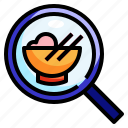 choose, dish, food, magnifier, search