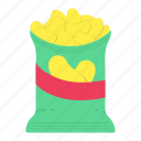 color, crisps, crunch, food, packaging, snack icon