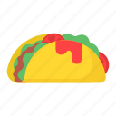 burger, color, food, packaging, sandwich, taco