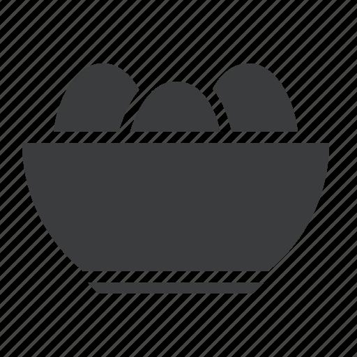 basket, bowl, egg, food icon