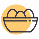 basket, bowl, egg, food icon