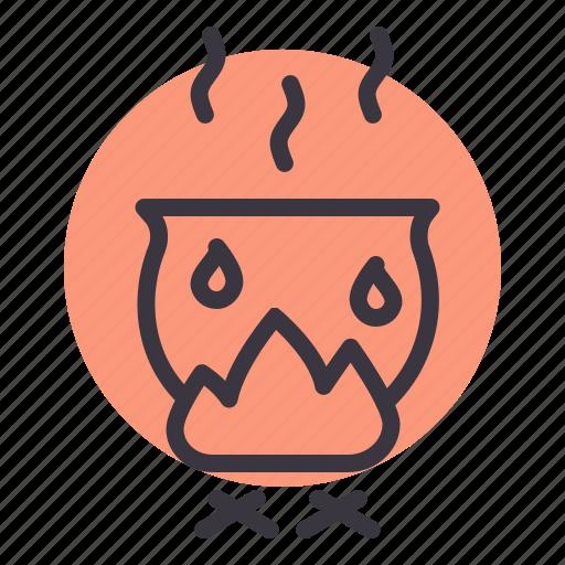cauldron, cook, fire, food, heat, pot, smoke icon