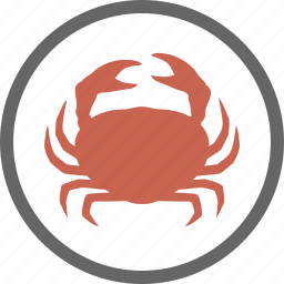 contain, contains, crab, crustacean, food, label, shellfish icon
