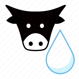 cow, dairy, drop, food, milk, moo, white icon