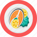 fishplate, food, lemon, lettuce, seafood icon
