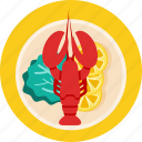 dish, food, lemon, lettuce, lobster, seafood icon
