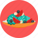 food, lettuce, olives, salad, tomatoes icon
