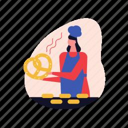 bakery, pretzel, pastry, shop, bread