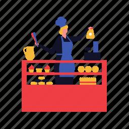 cafe, pastry, shop, bakery, saleswoman