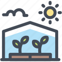 farming, food, greenhouse, organic, plant, sun icon