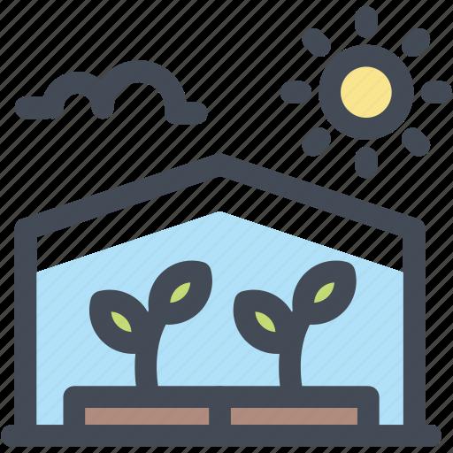 farming, food, greenhouse, organic, plant, sun icon