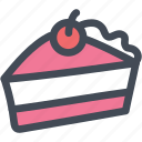 cake, cherry, chocolate, dessert, food icon