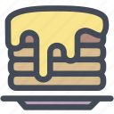 butter, food, pancake stack, pancakes, syrup icon