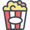 buttered popcorn, corn, food, movie popcorn, popcorn, snack icon