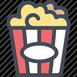 buttered popcorn, corn, food, movie popcorn, popcorn, snack icon