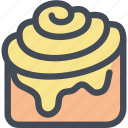 cinnamon bun, dessert, food, pastry, sweet icon