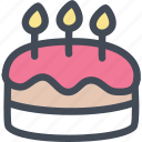 birthday, birthday cake, cake, cake decorating, food, party icon