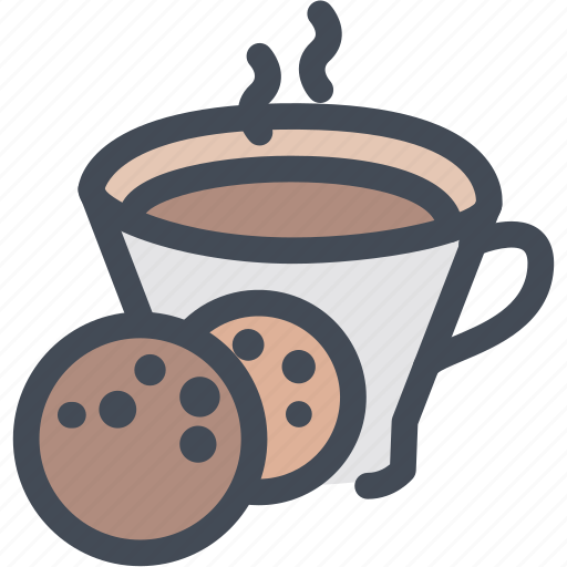 breakfast, coffee, cookie, cup, food, hot coffee with cookie, morning icon