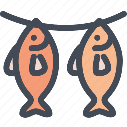 dried fish, fish, food, river, seafood icon