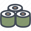 raw sushi, sushi roll, food, seafood, sushi, japanese, asian food icon