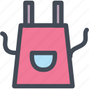 apron, canvas apron, food, magnifier, lense, kitchen icon