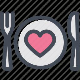 dish, favorite food, food, heart, silverware icon