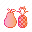 dessert, diet, food, fresh fruit, healthy food, pear, pineapple icon