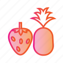 berries, berry fruit, food, healthy food, pineapple, strawberry, strawberry and pineapple icon