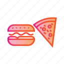 burger and pizza, combo, eating, food, hamburger, junk food icon
