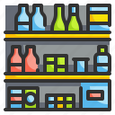 drink, food, shelves, shelving, supermarket icon