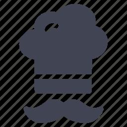cap, chef, cooking, hat, kitchen, moustache icon