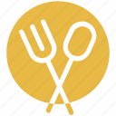 cutlery, fork, platter, spoon