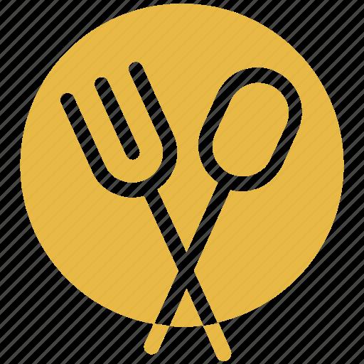 cutlery, fork, platter, spoon icon