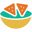 corn chips, guacamole, tortilla chips, totopos icon