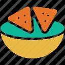 guacamole, totopos, tortilla chips, corn chips