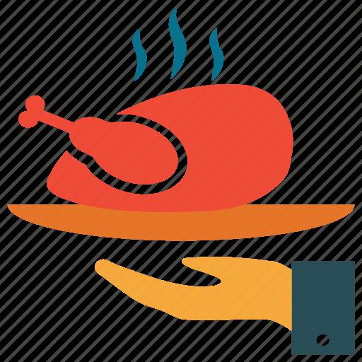 food serving, hot chicken, restaurant service, steamed chicken icon