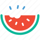 bite of watermelon, fruit, healthy food, watermelon icon