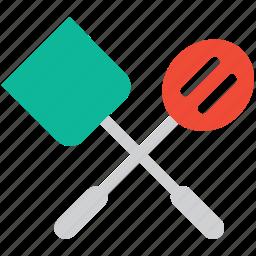 kitchen utensils, spatula, turner, turning spatula icon