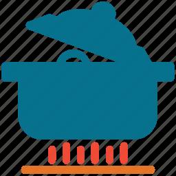 cooking food, cooking pot, food, saucepan on stove icon