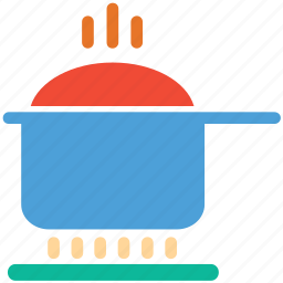 cooking, hot food, hot pot, saucepan on stove icon