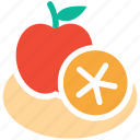 apple, fruit, fruits, lemon half icon