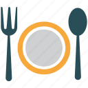 cutlery, fork, spoon, plate