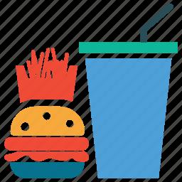 drink, fastfood, fries, hamburger icon