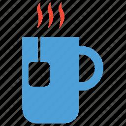 cup of tea, hot tea, tea, teabag in mug icon