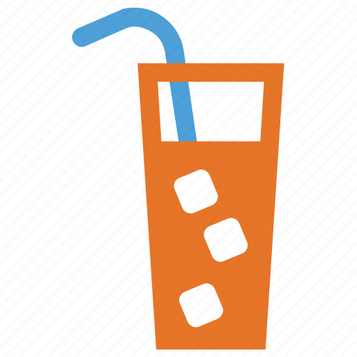 cold drink, drink, ice cubes in glass, summer drink icon