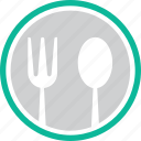 cutlery, fork, knife, plate icon