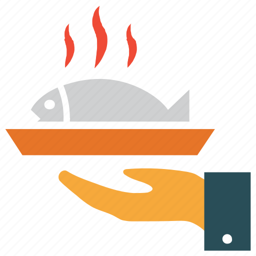 fish in plate, food serving, hot food, sea food icon