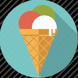 cone, food, foodix, ice, icecream, sweet, waffle icon