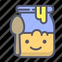 bee, honey, jar, natural, spoon icon