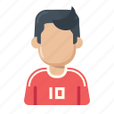 football, player, soccer, sportsman, uniform icon